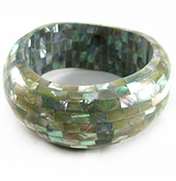 Thick Abalone Shell Blocking Inlay Bangle