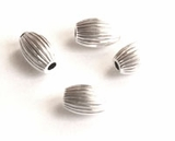 Corrugated Oval Sterling Silver Beads 4x5.5mm