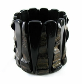 Black Horn Bangle Bracelet With Rough Pieces