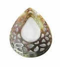 "Carved Blacklip Shell ""Center-Hole Teardrop"" Pendant"