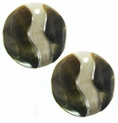 Round Blacklip Earrings Embossed