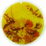 Floral Print Decal River Shell Pendant