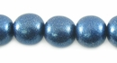 Metallic Blue Round Wood Beads  10mm