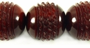 Red Horn Carved Round Beads 25mm