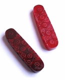 Red Horn Carved 5-Hole Spacer Beads