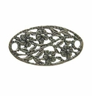 Sterling Silver Oval Flower-Design Link