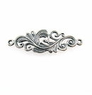 Sterling Silver Flower-Design Link 11x32.5mm