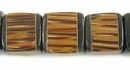Black Horn Inlaid Cube Palmwood Beads 12mm