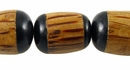 Black Horn Inlaid Oval  Palmwood Beads 15x16mm