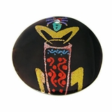 Tab Shell Round Painted  Drumming Kokopelli Pendant
