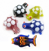 Fish & Turtle Lampwork Glass Beads
