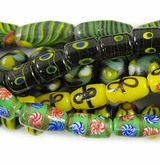 Green, Yellow & Sweet Design Lampwork Beads