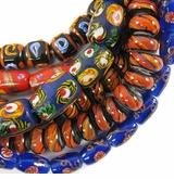 Red, Orange & Blue Design Lampwork Beads