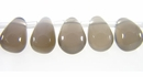 Smooth Briolette Natural Gray Agate Beads 6x8mm