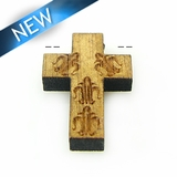 Mahoganny Wood Cross Laser Designed 22x15x3.5mm
