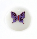 Makabibi Round  Painted Embossed Butterfly Purple
