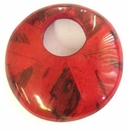 Red Round Banana Inlay  Wood Pendant