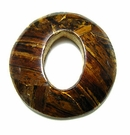 Burnt Yellow Round Banana Inlay Wood Pendant