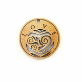 "Wooden Round Charm ""Love"" Pendant"