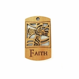 Wooden Charm Faith Pendant