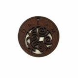 "Wooden Round Charm Pendant  ""DREAM"""