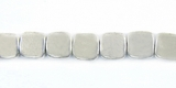 Square Silver Plated Brass Beads 6x6mm