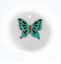 Makabibi Round Painted Embossed Butterfly Green