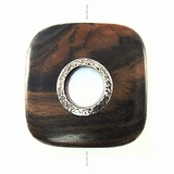 Rounded Square Metal Framed Tiger Ebony Wood Pendant