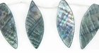 Metallic Gray River Shell Leaf Beads 26x46mm