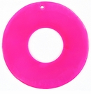 Neon Pink Capiz Donut Shell Pendants 46mm