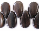 Flat Teardrop Tiger Ebony Wood Beads (tip-side-drill) 18x28x8mm