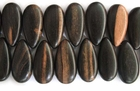 Flat Teardrop Tiger Ebony Wood Beads (tip-side-drill) 18x34x11mm