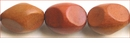 Oval 4- Sided Redwood  Wood Beads 20mmx15mm