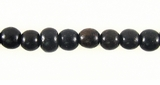 Round Black Ebony  Wood Beads 4-5.5mm