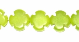 Lime Green Buri Cross Bead 10mm