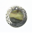 Blacklip 30mm Round In Carved Silver Frame