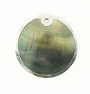 Blacklip Round Silver Framed Shell Pendants 30mm