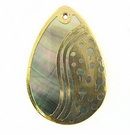 Blacklip Teardrop Gold Yingyang 30x45mm