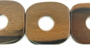 Tiger Ebony Wood Flat Square Beads (12mm-Center-Hole)