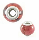 Coral Banana Bark Round Beads 15x12mm