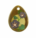 Drop Wood Pendant - Morning Glory Flower Design