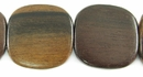 Tiger Ebony Wood Flat Square Beads 25mm (5mm thick)