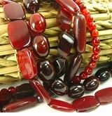 Red Colored Horn Beads & Pendants