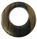 Tiger Ebony Off-Center Donut Pendant 45mm