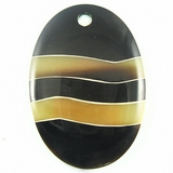 Black Horn With Transparent Greyhorn Inlay Oval Pendants