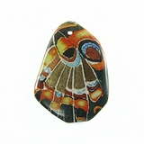 Orange-green Pattern Butterfly Wing Paper Print Wrapped Wood Pendant