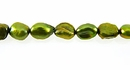 Metallic Lime Green Rice Keshi Pearls 5x6.5mm