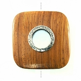 Rounded Square Metal Framed Bayong Wood Pendant