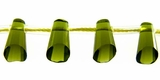 Green Glass Cone Beads 6x9mm