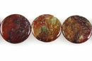 Rainbow Flat Coin Agate Beads 30mm (7mm thick)